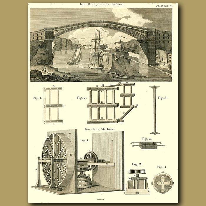Antique print. Iron bridge and Kneading Machine