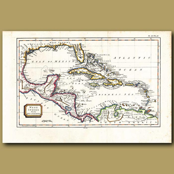 Antique print. Map Of The West Indies From The Best Authorities