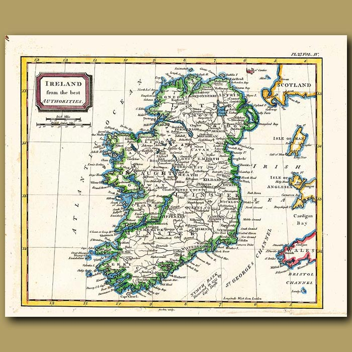 Antique print. Map Of Ireland From The Best Authorities