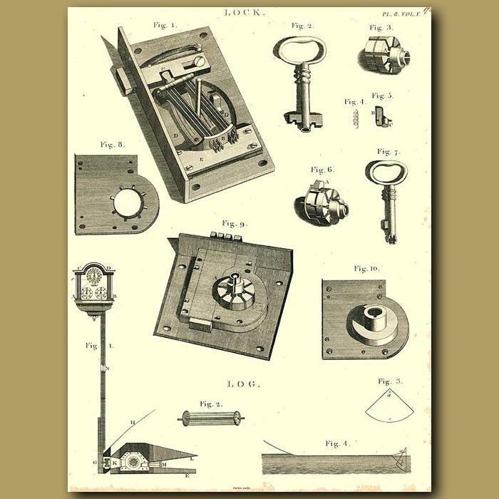 Antique print. Locks
