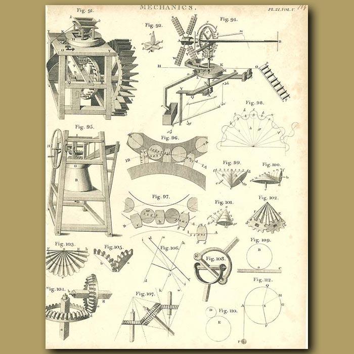 Antique print. Mechanics: Turbines and mills