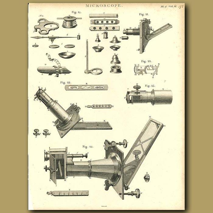 Antique print. Microscope