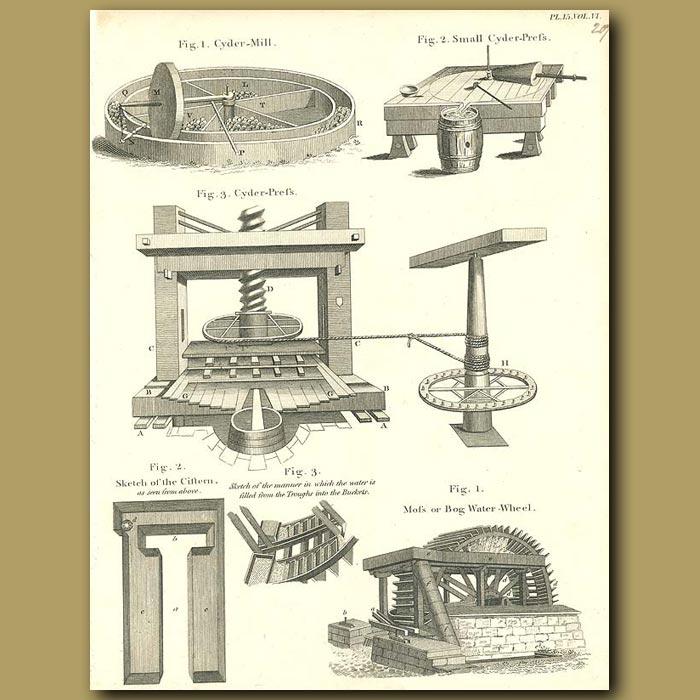 Antique print. Cider mill and Cider Press