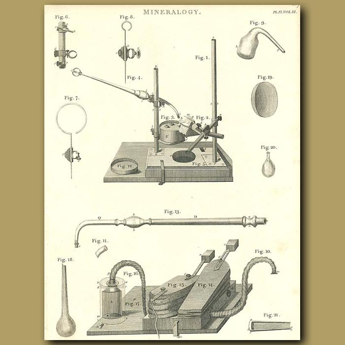 Antique print. Mineralogy