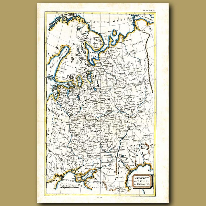Antique print. Map Of Muscovy Or Russia In Europe