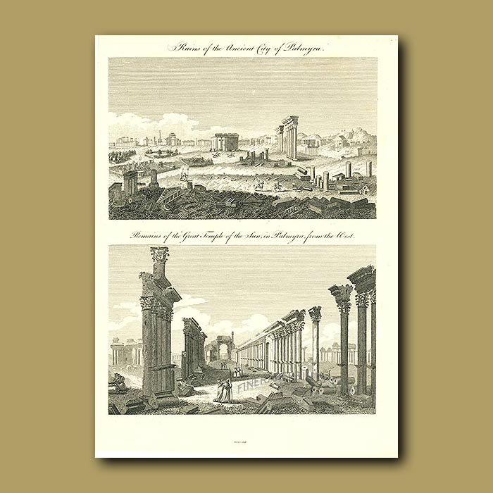 Antique print. Ruins Of The Ancient City Of Palmyra And Remains Of The Great Temple Of The Sun In Palmyra