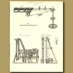 Machine for boring wooden pipes, and pile driving machines