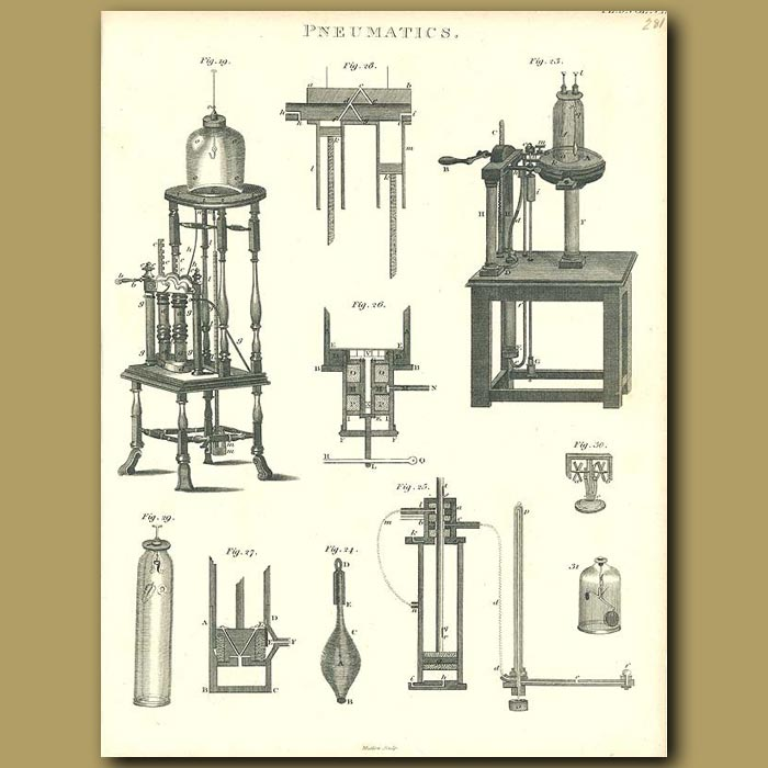 Antique print. Pneumatics: Air Pumps