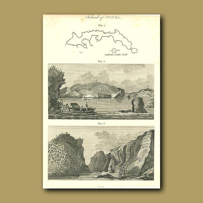 Antique print. Island Of Ponza
