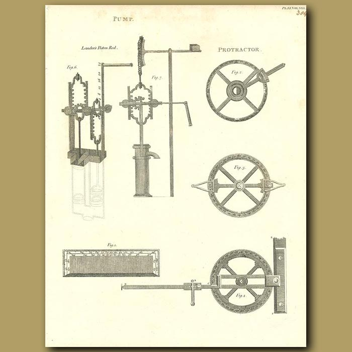 Antique print. Pumps