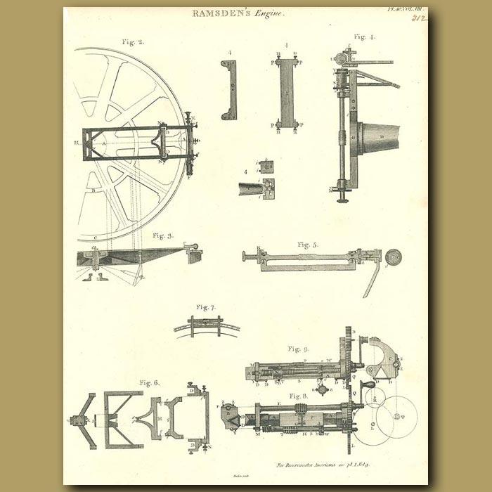 Antique print. Ramsden's Engine