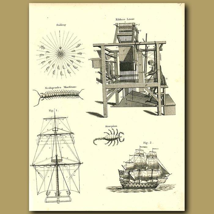 Antique print. Ribbon Loom