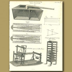 Machine for freshening seawater. Silk worms and a Silk Loom