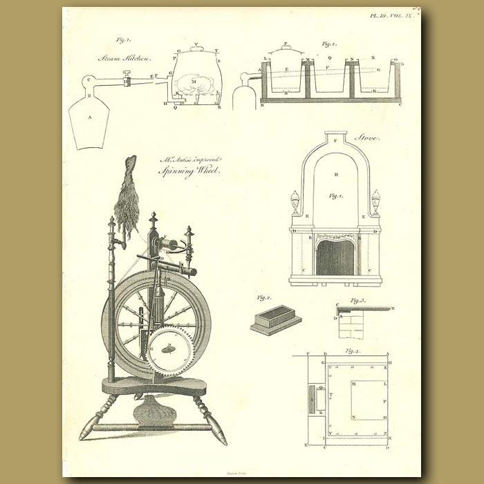 Antique print. Spinning Wheel