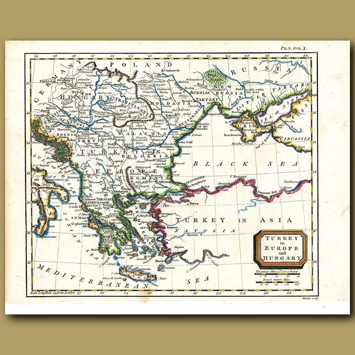 Antique print. Map Of Turkey In Europe And Hungary