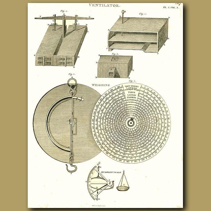 Antique print. Ventilator