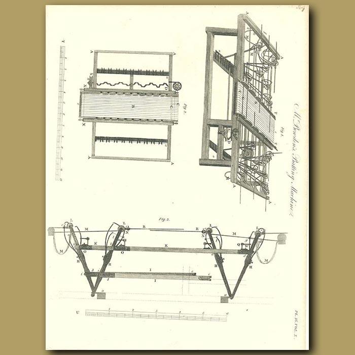 Antique print. Mr Bowden's Batting machine