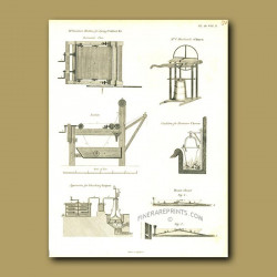 Machine for dyeing cotton, cauldron for Parmensan cheese, appartus for bleaching liqour and churn