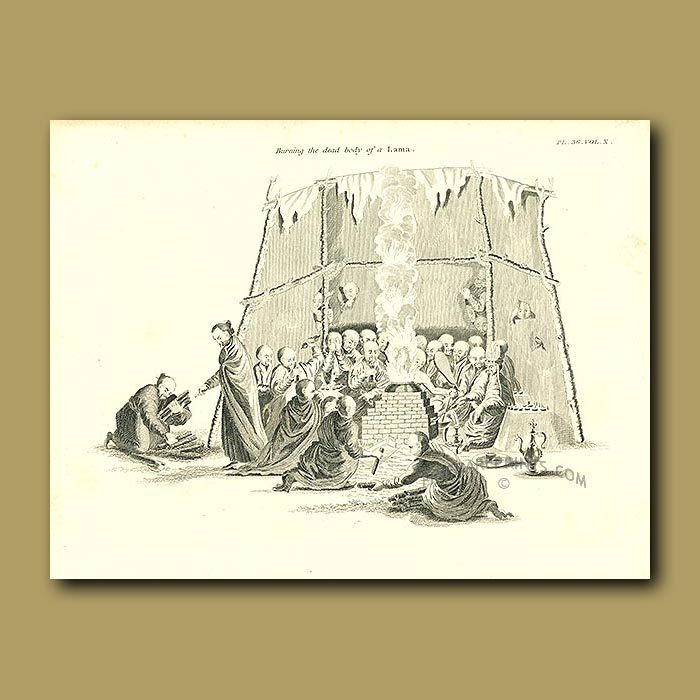 Antique print. Burning The Dead Body Of A Lama