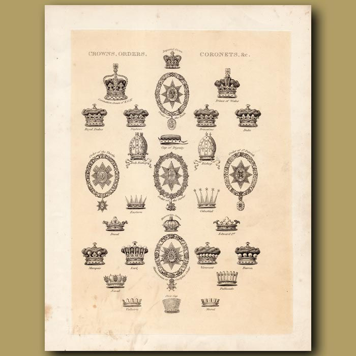 Antique print. Crowns, Orders and Coronets