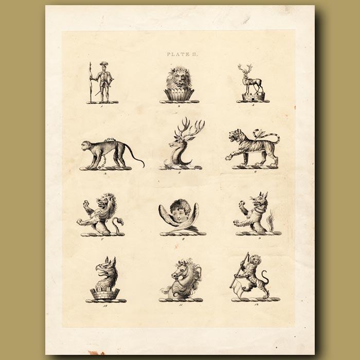 Antique print. Heraldry 2: Tiger, Monkey, Horse etc