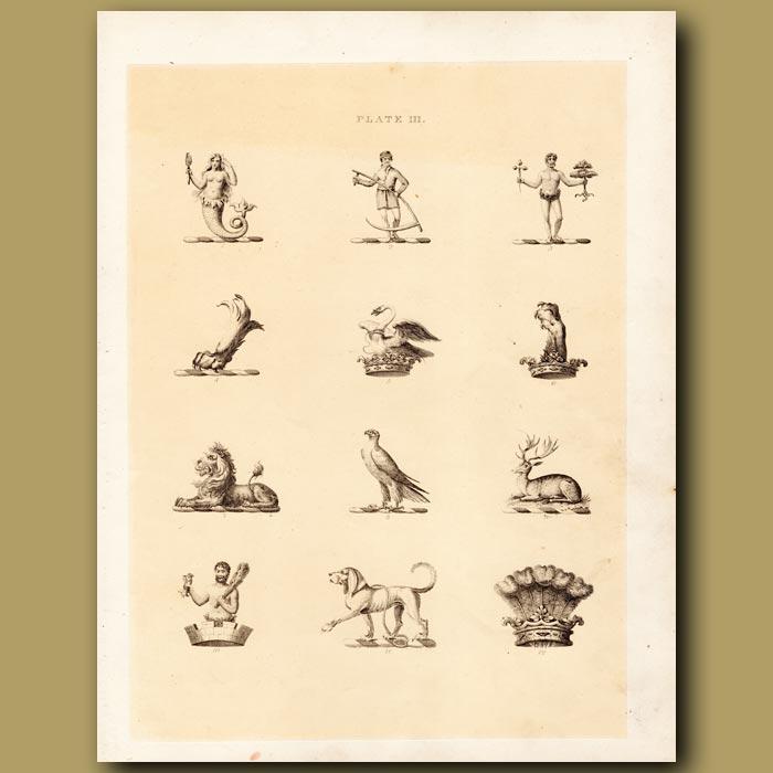 Antique print. Heraldry 3: Mermaid, Swan, Deer etc