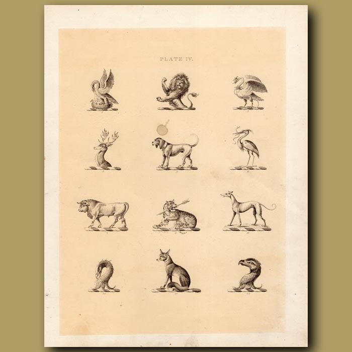 Antique print. Heraldry 4: Phoenix, Greyhound, Fox etc