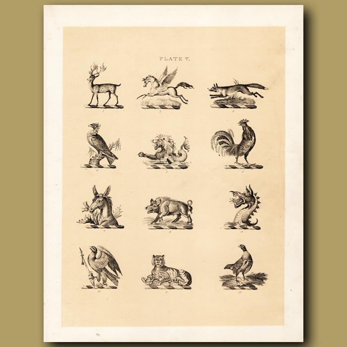 Antique print. Heraldry 5: Pegasus, Fox, Eagle etc