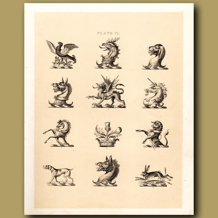 Antique print. Heraldry 6: Dragon, Unicorn, Horse etc