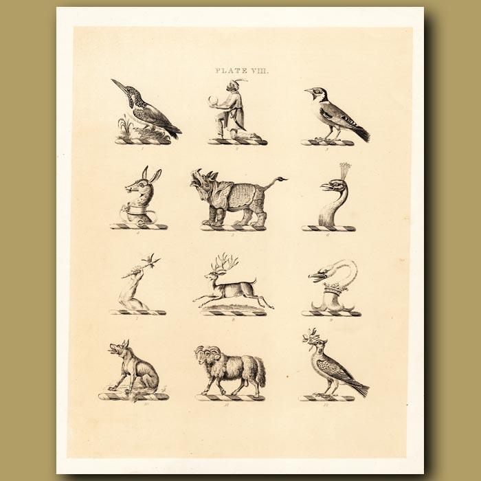 Antique print. Heraldry 8: Rhinoceros, Peacock, Deer etc