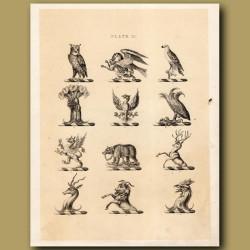 Heraldry 11: Owl, Phoenix, Bear etc