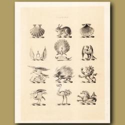Heraldry 13: Peacock, Eagle, Heron etc