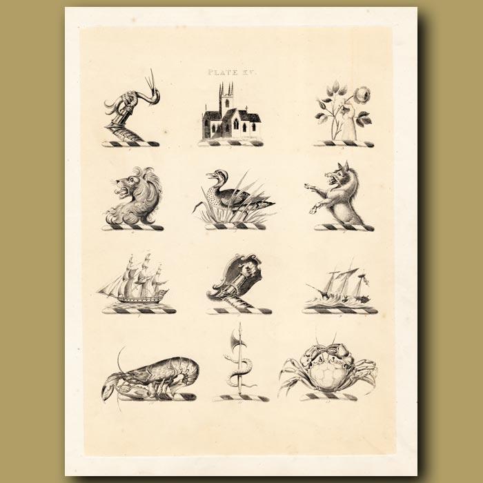Antique print. Heraldry 15: Lion, Boar, Lobster etc