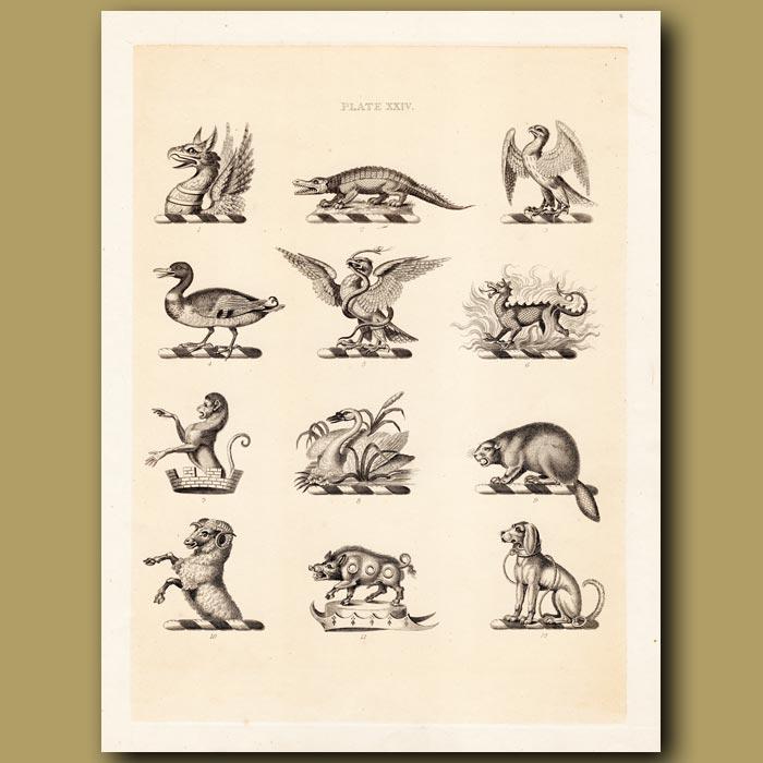 Antique print. Heraldry 24: Crocodile, Snake, Beaver etc