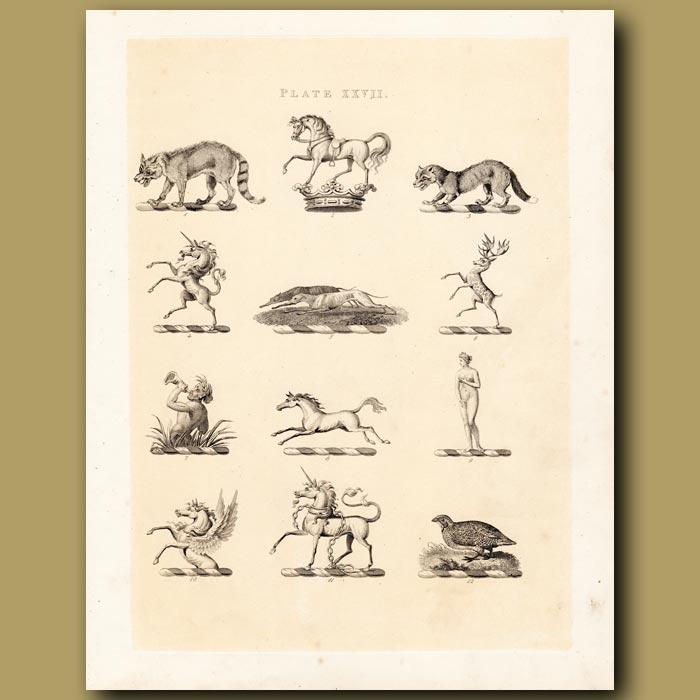 Antique print. Heraldry 27: Unicorn, Triton, Venus etc