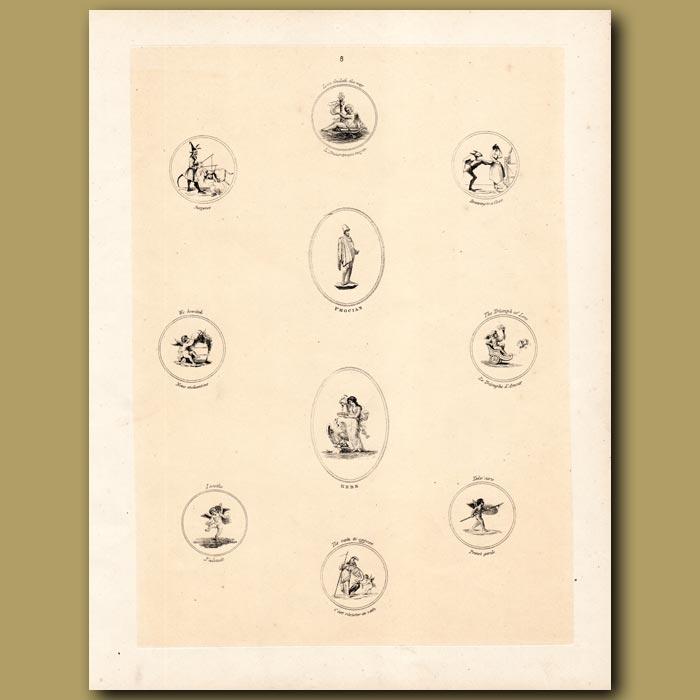 Antique print. Cupids, Goddess