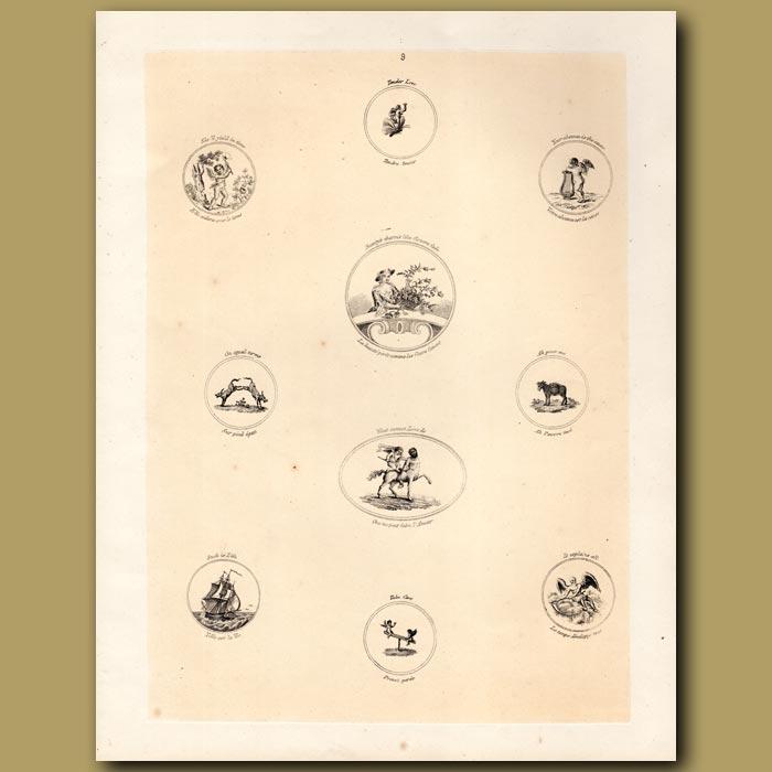 Antique print. Cupids, Centaur, Ship
