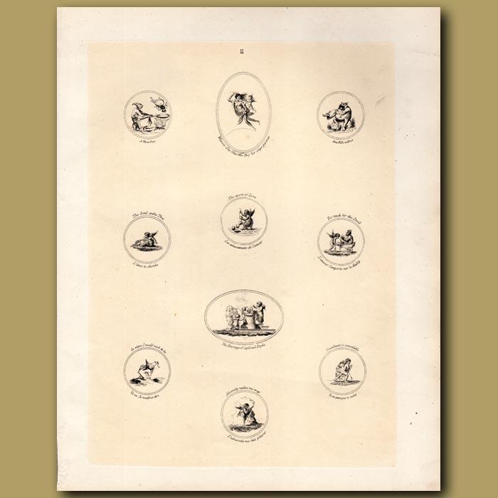 Antique print. Cupids
