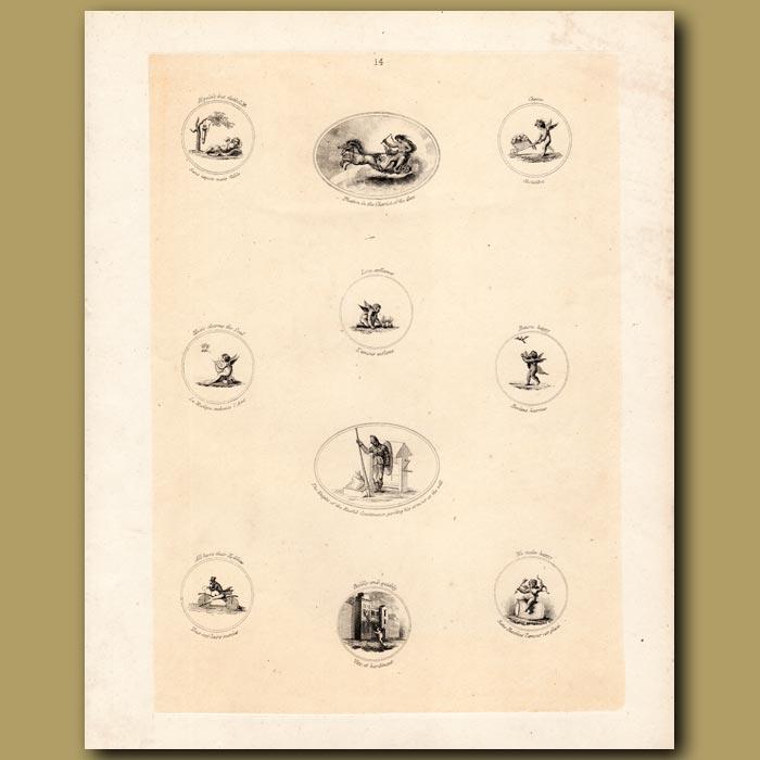 Antique print. Cupids, Soldier, Bicycle