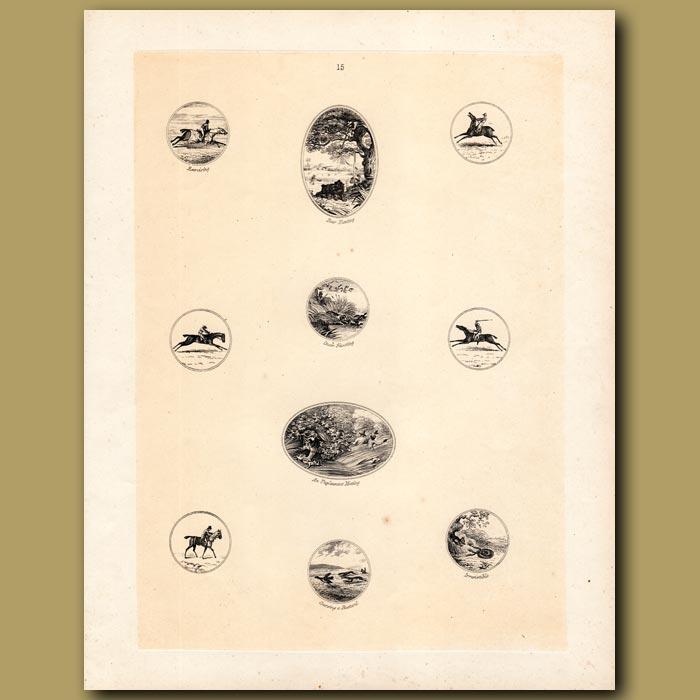 Antique print. Horse riding, Bear hunting, Duck Shooting