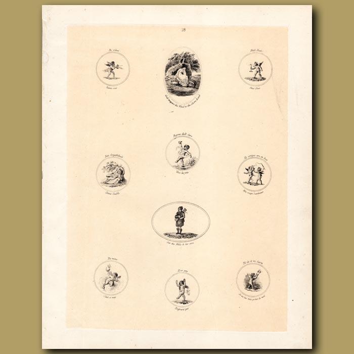 Antique print. Cupids, Bagpiper