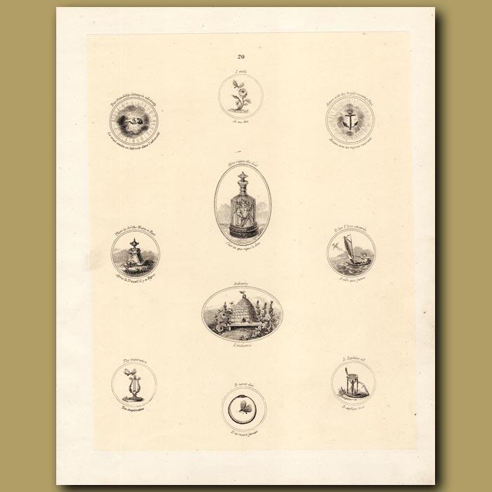 Antique print. Cupids, Beehive