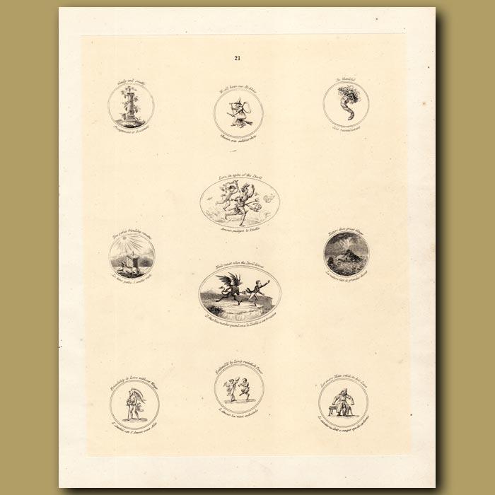 Antique print. Witticisms