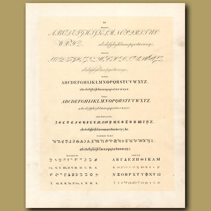 Antique print. Examples of font