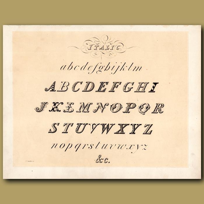Antique print. Example of Italic font