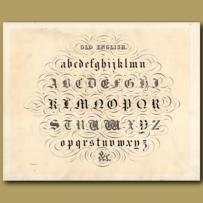 Antique print. Example of Old English font