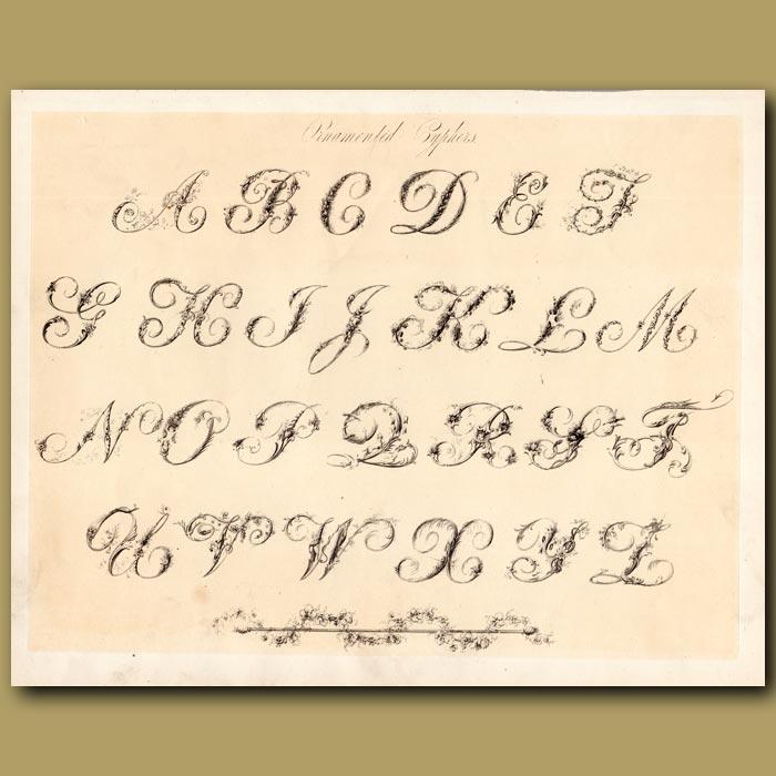 Antique print. Example of Ornamental font