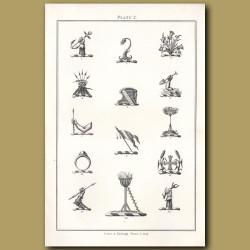 Thistles, Flag, Arm with a bait spade, Annulet, Beacons