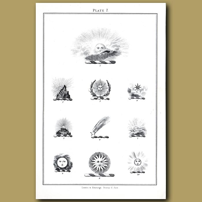 Sun, comet and star: Genuine antique print for sale.