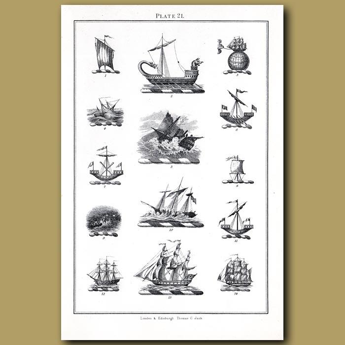 Sailing ships: Genuine antique print for sale.